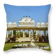 Pavilion And Fountain, Udaipur, India Throw Pillow