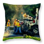Paving Crew Throw Pillow
