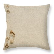 Paw And Footprint 1 Throw Pillow