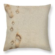 Paw And Footprints 2 Throw Pillow