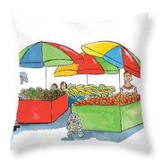 Paw Paw At The Market Throw Pillow