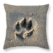 Pawprint In The Sand Throw Pillow