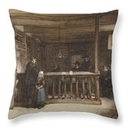 Payday, The Ships Room Right House Nieuw-loosdrecht, Furnished With Seventeenth-century Figures, Joh Throw Pillow