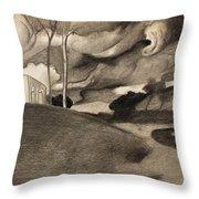 Paysage Aux Lourdes Nuages Throw Pillow