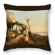 Paysage De La Cte Amalfitaine Avec Des Throw Pillow
