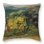 Paysage  Larbre Jaune Throw Pillow
