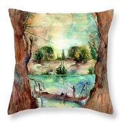 Paysage With A Boat Throw Pillow