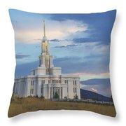 Payson Temple At Dusk Throw Pillow