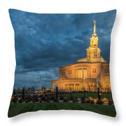 Payson Temple Panorama Throw Pillow