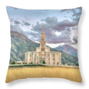 Payson Utah Lds Temple, Sunset View Of The Mountains And Grass Throw Pillow