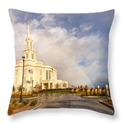 Payson Utah Temple Rainbow Throw Pillow