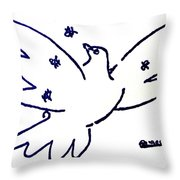 Peace Dove Serigraph In Blue As A Tribute To Pablo Picasso's Lithograph Of Love Bird With Flowers Throw Pillow