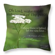 Peace, Francis Of Assisi Throw Pillow