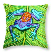 Peace Frog On A Leaf Throw Pillow