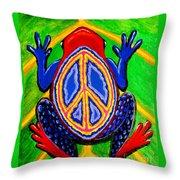 Peace Frog Too Throw Pillow