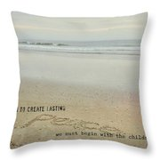 Peace In The Surf Quote Throw Pillow