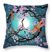 Peace Tree With Orange Dragonflies Throw Pillow