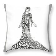 Peace Woman Wild Ink Throw Pillow