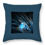 Peaceful Blue Clown Fish - Digital Painting 8x8 2018 Throw Pillow