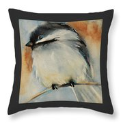 Peaceful Chickadee Throw Pillow by Jani Freimann