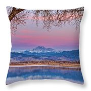Peaceful Early Morning First Light Longs Peak View Throw Pillow