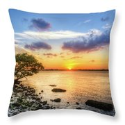 Peaceful Evening On The Waterway Throw Pillow