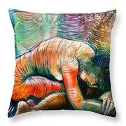 Peaceful Flow - Reclining Nude Throw Pillow