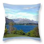 Peaceful Lake -- New Zealand Throw Pillow