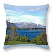 Peaceful Lake -- New Zealand Throw Pillow