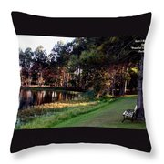 Peaceful Lakeside Park Scene H B Throw Pillow