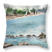 Peaceful Morning At The Harbor  Throw Pillow
