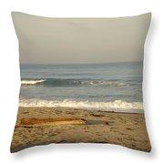 Peaceful Morning Beach Throw Pillow