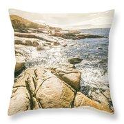 Peaceful Sun Flared Australian Coastline Throw Pillow