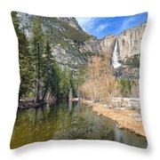 Peaceful Winter River Through Yosemite Valley Throw Pillow