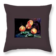 Peach And Peppers Throw Pillow
