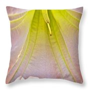 Peach Angel's Trumpet Inside At Pilgrim Place In Claremont-california Throw Pillow