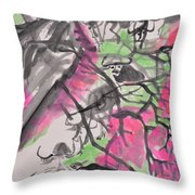 Peach Blossom And Water Buffalo Throw Pillow