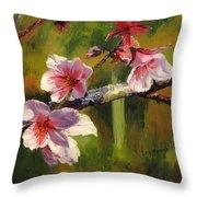 Peach Blossom Time Throw Pillow