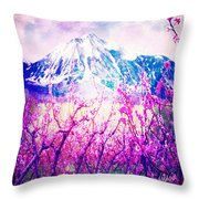 Peach Blossoms And Mount Lanborn Vi Throw Pillow