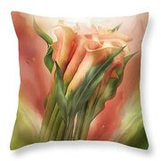 Peach Calla Lilies In Calla Vase Throw Pillow
