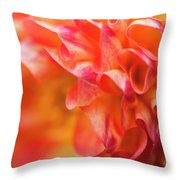 Peach Color Dahlia Throw Pillow