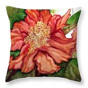 Peach Drama Throw Pillow