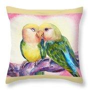 Peach-faced Lovebirds Throw Pillow