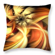 Peach Gold Nautilus Throw Pillow