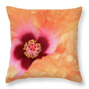 Peach Hibiscus - Macro Throw Pillow