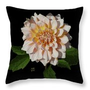 Peach-n-yellow Dahlia Cutout Throw Pillow