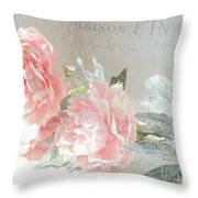 Peach Peonies Impressionistic Peony Floral Prints - French Impressionistic Peach Peony Prints Throw Pillow