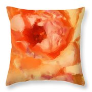 Peach Rose - Digital Painting Throw Pillow