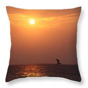 Peach Sunrise And Bird In Flight Throw Pillow