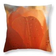 Peach Tulip Throw Pillow